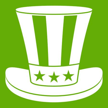 federal election: American hat icon white isolated on green background. Vector illustration Illustration