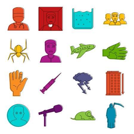 Phobia symbols icons set. Doodle illustration of vector icons isolated on white background for any web design Illustration