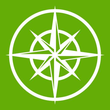 Sign of compass to determine cardinal directions icon white isolated on green background. Vector illustration