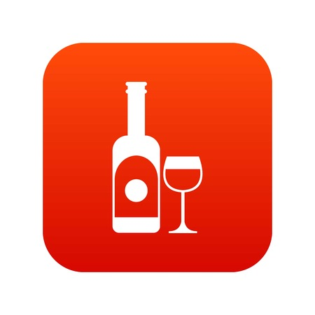 Wine and glass icon digital red for any design isolated on white vector illustration