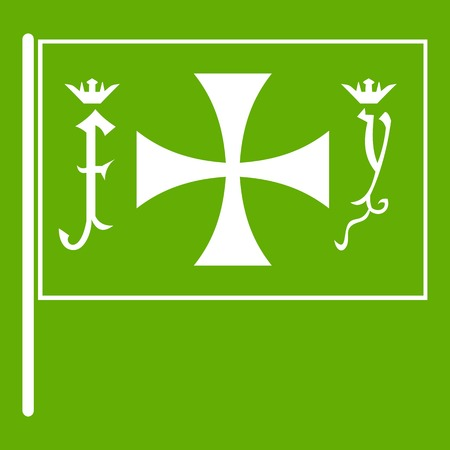 Flag of Columbus icon white isolated on green background. Vector illustration