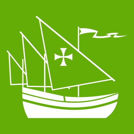 Ship of Columbus icon white isolated on green background. Vector illustration