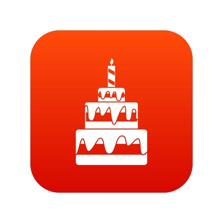 Cake icon digital red for any design isolated on white vector illustration