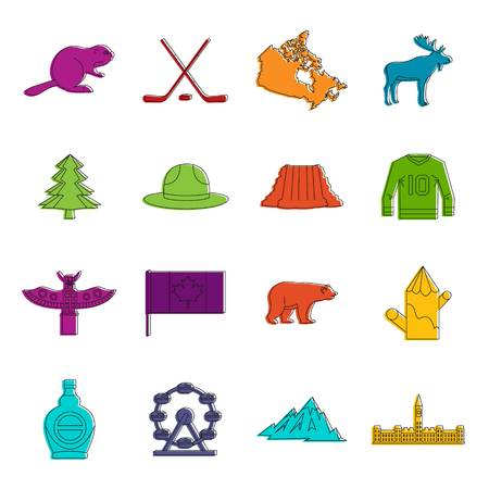 Canada travel icons set. Doodle illustration of vector icons isolated on white background for any web design