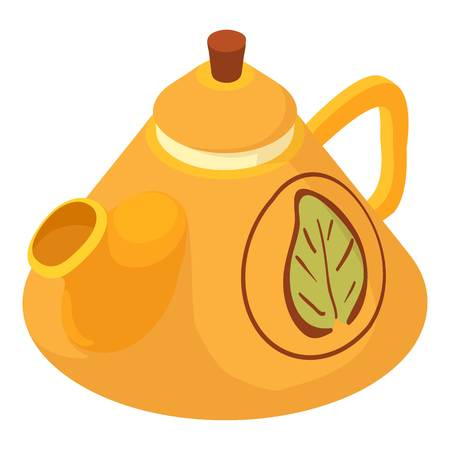 chinese food container: Kettle green tea icon, isometric 3d style