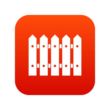 Wooden fence icon digital red Illustration