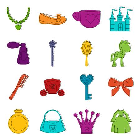 Doll princess items icons doodle set Illustration