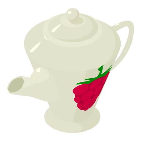 chinese food container: Kettle raspberries icon, isometric 3d style Illustration