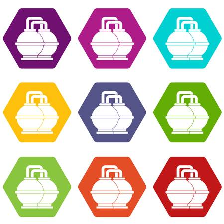 Industrial tanks for petrol and oil icon set color hexahedron