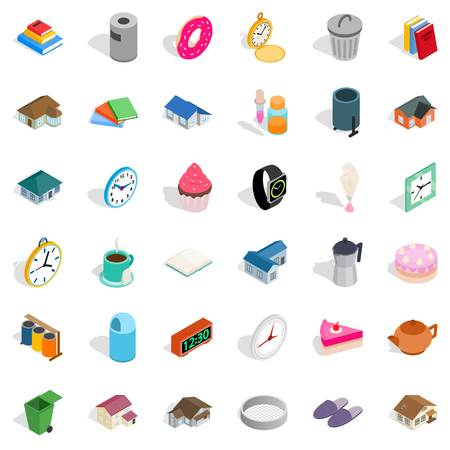 number 36: Home icons set, isometric style