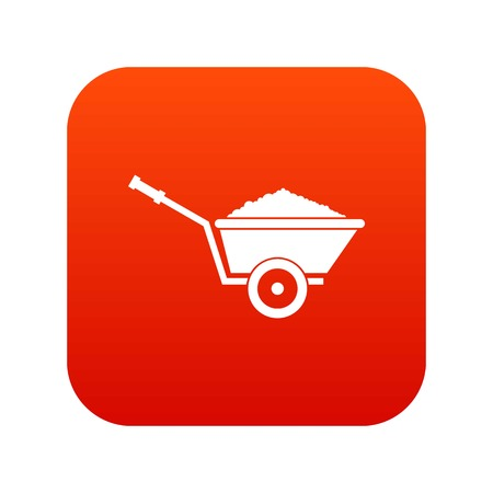 Garden wheelbarrow icon digital red