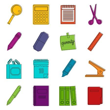 Stationery symbols icons doodle set