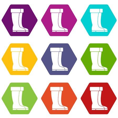 Winter shoes icon set color hexahedron