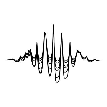 Audio equalizer soundwave icon, simple black style Illustration