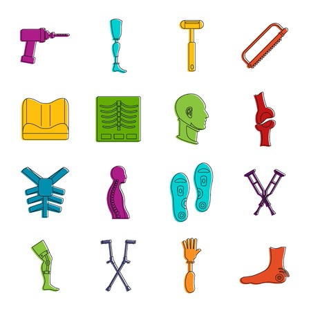 Orthopedics prosthetics icons set. Doodle illustration of vector icons isolated on white background for any web design