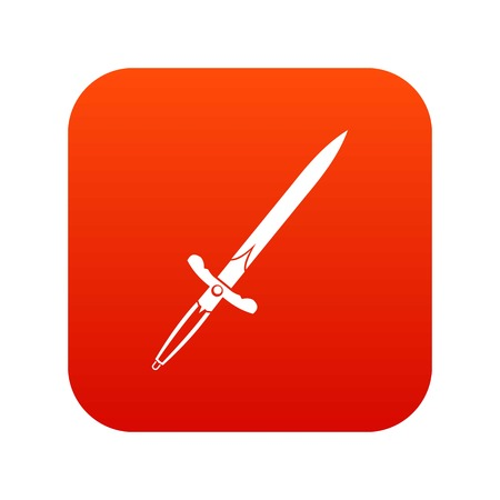 Sword icon digital red for any design isolated on white vector illustration