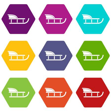 Sled icon set color hexahedron