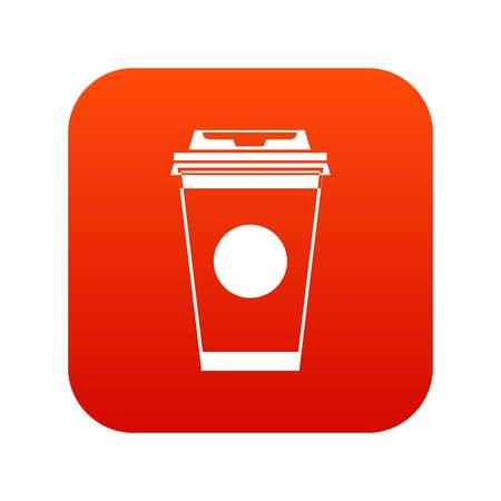 Paper coffee cup icon digital red