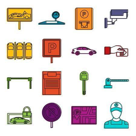 Insieme di doodle delle icone di parcheggio dell'automobile