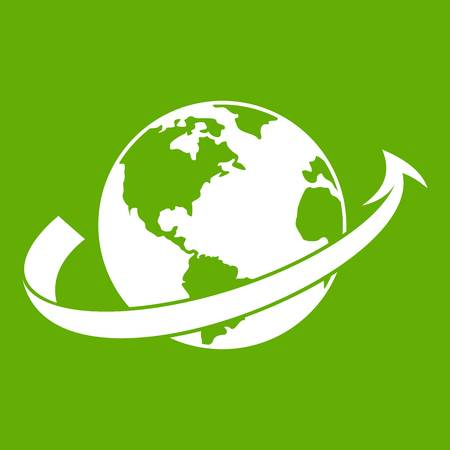 Airplane fly around the planet icon green Illustration