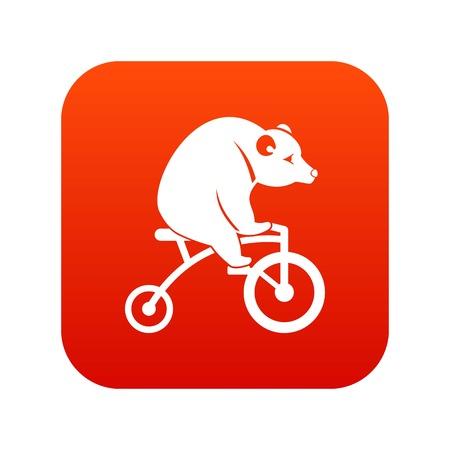 Bear on a bike icon digital red