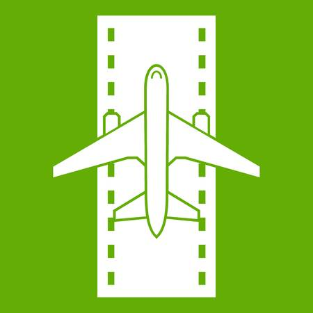 Airplane on the runway icon green