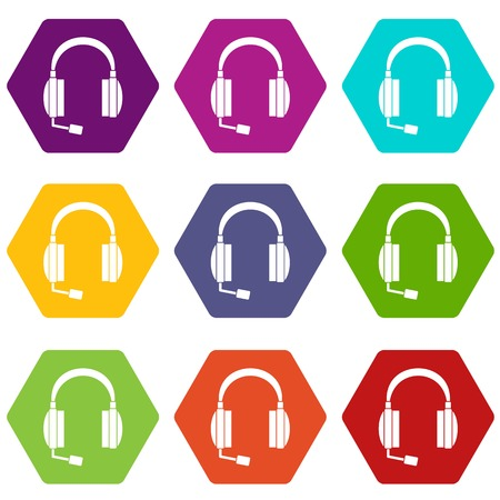 earphone: Headphones icon set color hexahedron on white background, vector illustration. Illustration