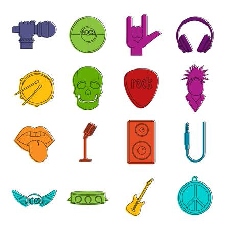 speakers: Rock music icons doodle set on white background, vector illustration. Illustration