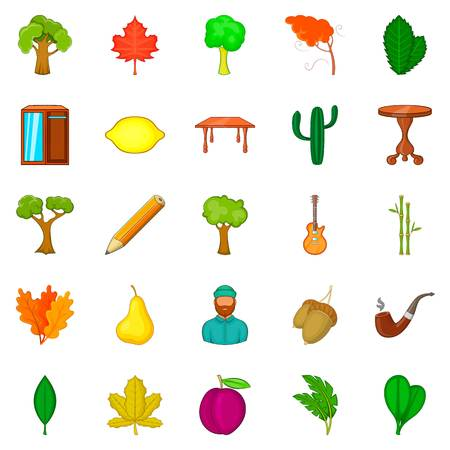 Fallen foliage icons set, cartoon style Illustration