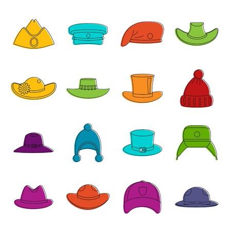 Headdress hat icons doodle set