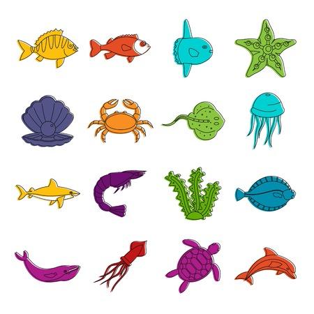 Los iconos de los animales marinos doodle conjunto Vectores