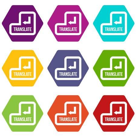 Traduire le jeu d'icônes de bouton plusieurs couleur hexaèdre isolé sur blanc vector illustration Vecteurs