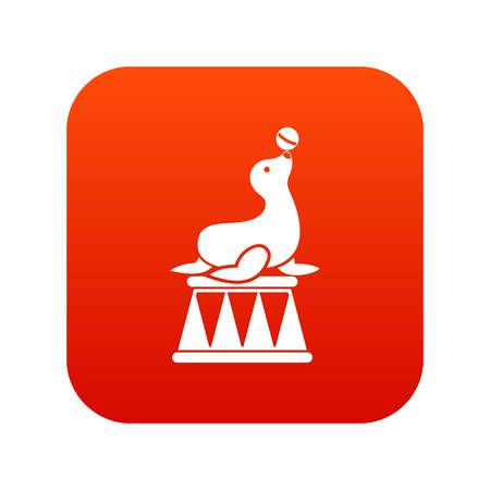 Circus seal with a ball icon digital red for any design isolated on white vector illustration