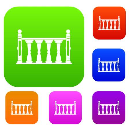 Balustrade set icon color in flat style isolated on white. Collection sings vector illustration Stock Illustratie