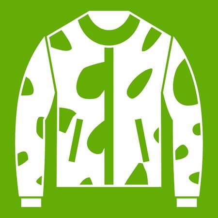 Camouflage jacket icon white isolated on green background. Vector illustration