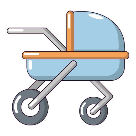 Baby carriage family icon, cartoon style. Illustration