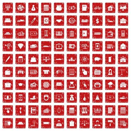 100 credit icons set grunge red