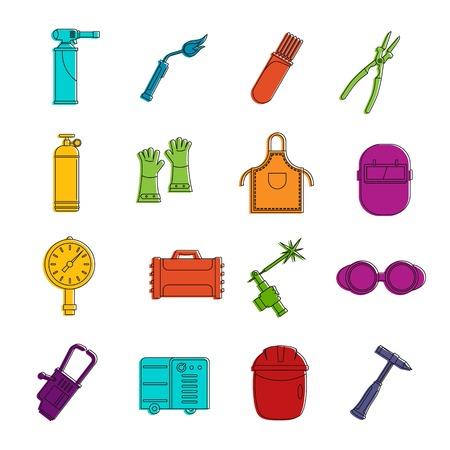 Welding icons doodle set