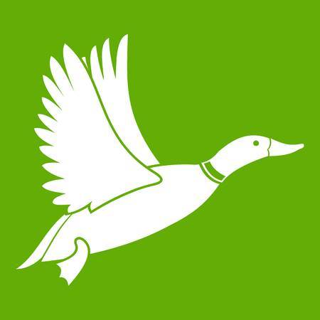 Duck icon on green background, vector illustration.