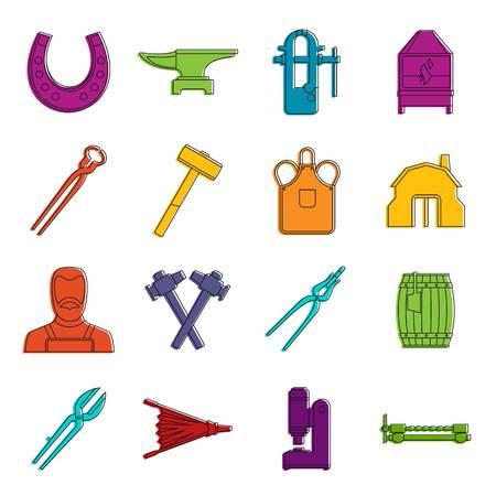 Blacksmith icons doodle set