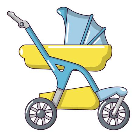 Baby carriage designer icon, cartoon style