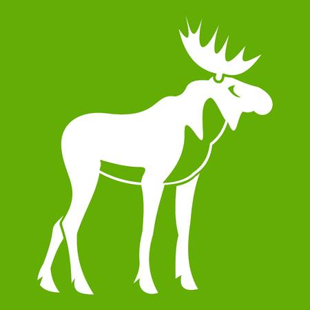 Moose icon in green background Illustration
