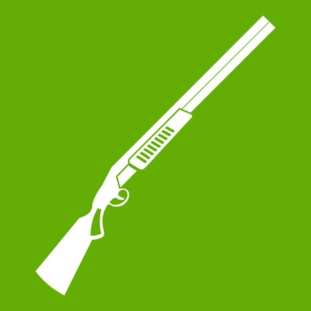 Gun icon white isolated on green background. Vector illustration