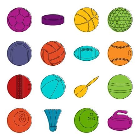 Sport balls icons set. Doodle illustration of vector icons isolated on white background for any web design