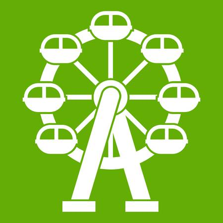 Ferris wheel icon white isolated on green background. Vector illustration