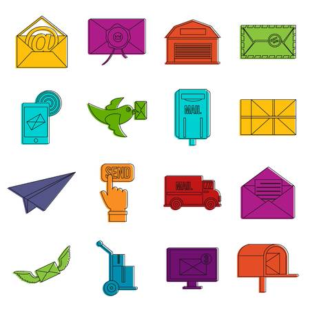 Poste service icons set. Doodle illustration of vector icons isolated on white background for any web design