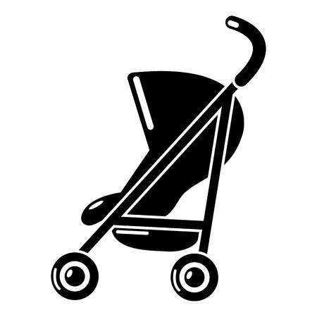 Einfache Ikone der Kinderwagen. Einfache Illustration der einfachen Vektorikone des Kinderwagens für Netz