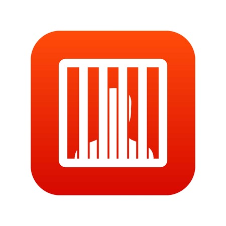 Man behind jail bars icon digital red for any design isolated on white vector illustration
