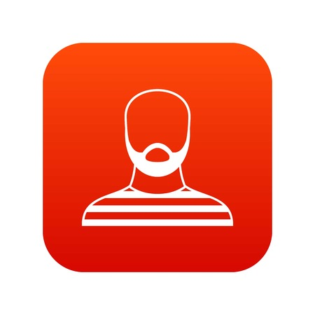 Bearded man in prison garb icon digital red for any design isolated on white vector illustration Ilustração