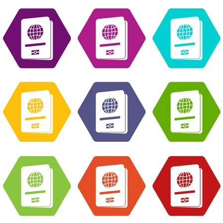 Passport icon set many color hexahedron isolated on white vector illustration Illustration
